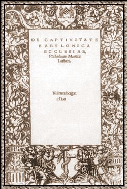 Title Page of  On The Babylonian Captivity of the Church